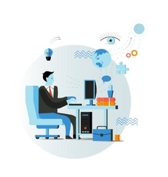 Businessman or office worker sitting on chair and vector image vector image