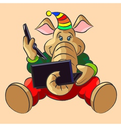 Elephant calf and laptop vector image