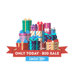 big sale discount banner with gift box vector image vector image