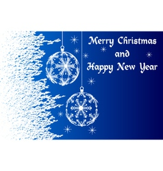 blue Merry Christmas and Happy New Year vector image vector image