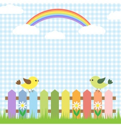 cute birds and rainbow vector image vector image