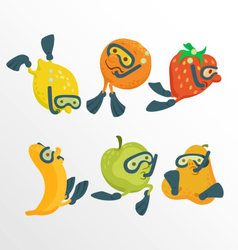Fruit divers cartoon concept vector image