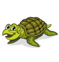 Green smiling turtle reptile vector image