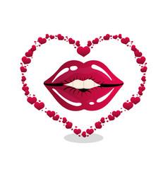 woman lips heart shape vector image