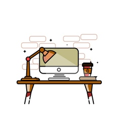 workplace with lamp screen and coffee cup vector image