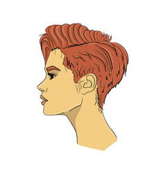 a woman with dark pink hair in profile the hair vector image
