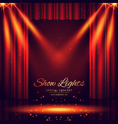 beautiful theater stage with lights focus vector image vector image