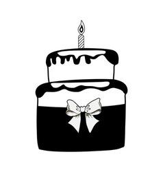 Birthday black cake on white background vector image