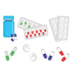different medical bottles and tablets vector image