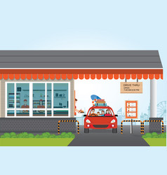 family getting food at a drive thru restaurant vector image vector image