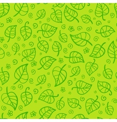 Green foliage cartoon seamless pattern vector image vector image