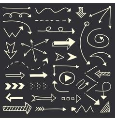 Hand drawn arrows sketch set vector image