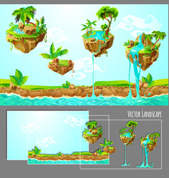 isometric game tropical nature landscape template vector image vector image