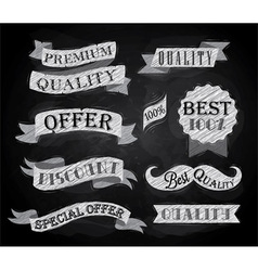 Set of retro ribbons and labels chalk vector image vector image