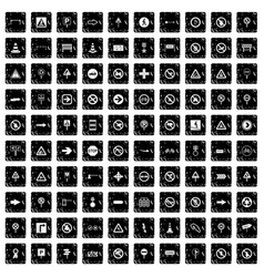 100 road signs icons set grunge style vector