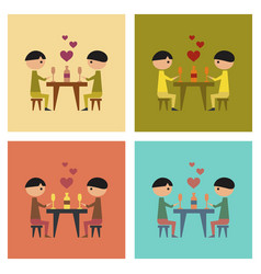 Assembly flat icons gays romantic dinner vector