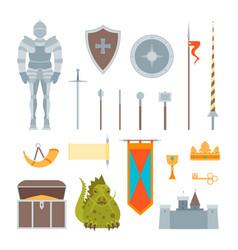 Cartoon symbol of mediaeval color icons set vector