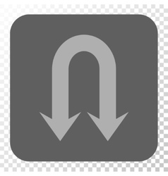Double Back Arrow Rounded Square Button vector image