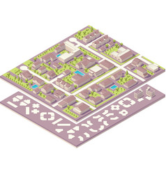 Isometric small town map creation kit vector image