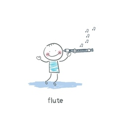 Man plays the flute vector image