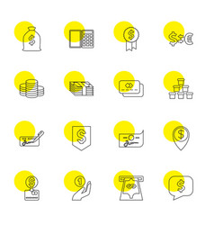 16 currency icons vector image