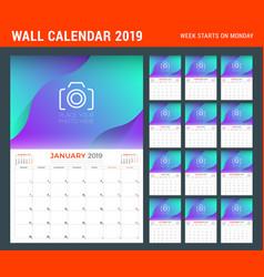 2019 year calendar planner stationery design vector image