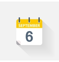 6 september calendar icon vector image