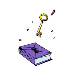 a closed book and key flat style for poster vector image