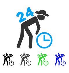 Around the clock working gentleman flat icon vector
