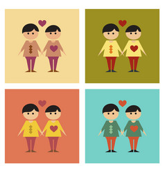 Assembly flat icons gay lovers vector