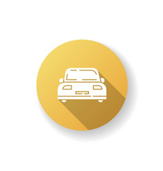 Auto yellow flat design long shadow glyph icon vector