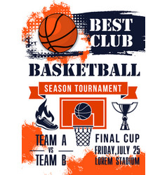 Basketball game tournament match banner vector