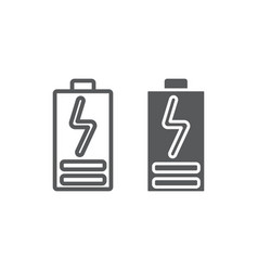 Battery load line and glyph icon electric and vector
