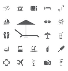 beach umbrella and lounger icon flat vector image