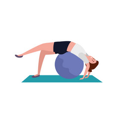 Beauty woman practicing pilates with balloon in vector
