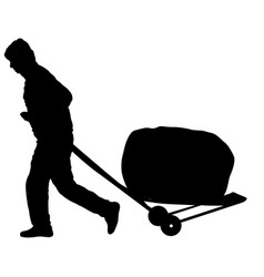 Black silhouette hard worker pushing wheelbarrow vector