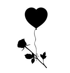 Black silhouette of rose flying on heart balloon vector