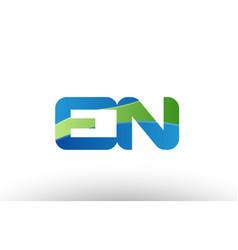blue green en e n alphabet letter logo vector image