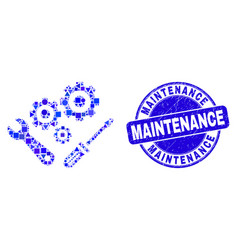Blue grunge maintenance stamp seal and vector