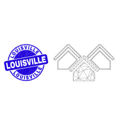 Blue scratched louisville stamp seal and web mesh vector