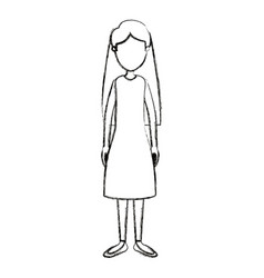 blurred silhouette cartoon full body faceless vector image