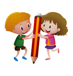 Boy and girl holding big pencil vector