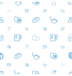 breakfast icons pattern seamless white background vector image