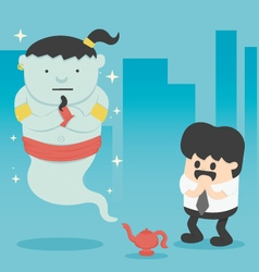 Business man with giant in magic lamp vector image