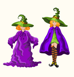 Cartoon young witches isolated on the white vector