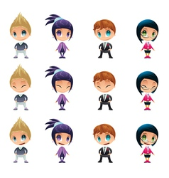 Characters with normal - blinked eyes - open mouth vector