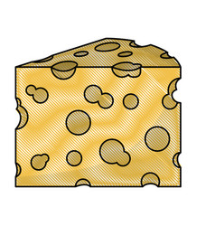 cheese slice in colored crayon silhouette on white vector image