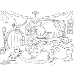 Children coloring cartoon house family mouse vector
