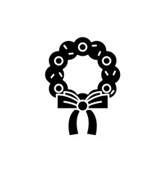 christmas wreath black icon sign on vector image