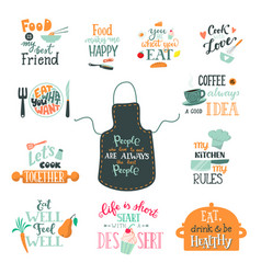 cook sign cooking or coffee lettering and vector image